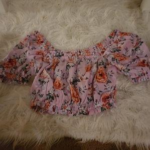 Pink crop floral top